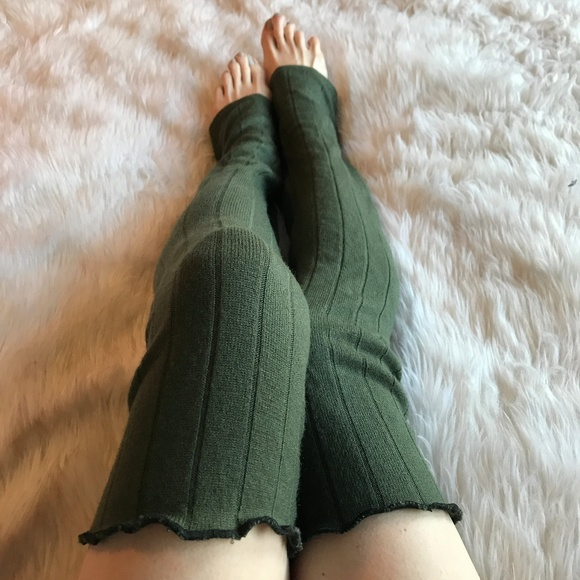 75e65432cf7 Trixy Xchange Green Ribbed Thigh High Legwarmers